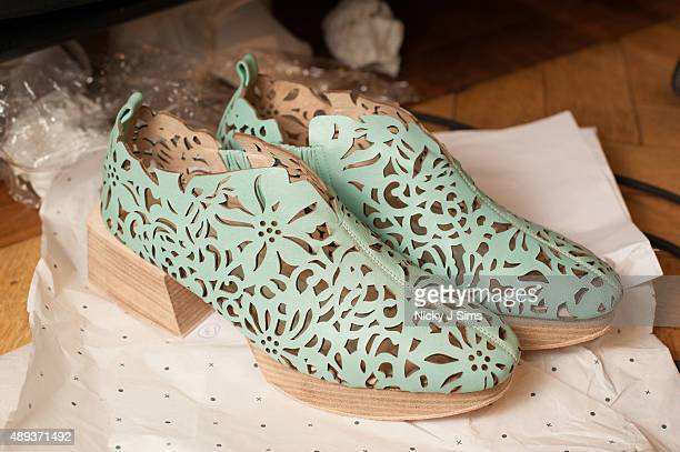 Shoes are seen backstage prior to the Apu Jan show during London Fashion Week Spring/Summer 2016 at Fashion Scout Venue on September 20 2015 in...