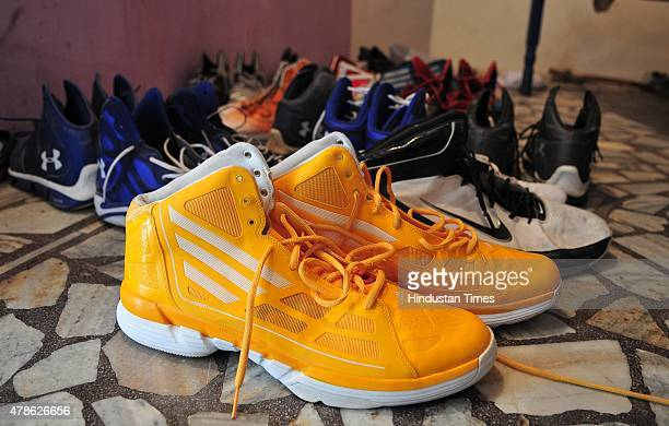 Shoes collection of basketball player Satnam Singh Bhamara 7'2' tall and weighs 290 pounds the first Indianborn player to be drafted in the NBA...