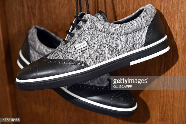 Shoes designed by British designer Jimmy Choo are displayed at a presentation on the fourth day of the Spring/Summer 2016 London Collections Men...
