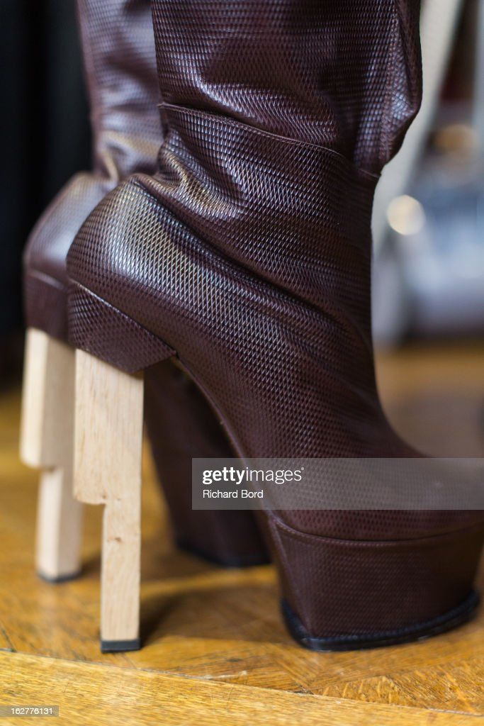 Shoes details backstage before the Steffie Christiaens Fall/Winter 2013 Ready-to-Wear show as part of Paris Fashion Week on February 26, 2013 in Paris, France.