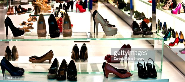 Shoes displayed in shop at airport