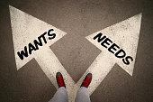 Wants and Needs arrows, dilemmas concept.