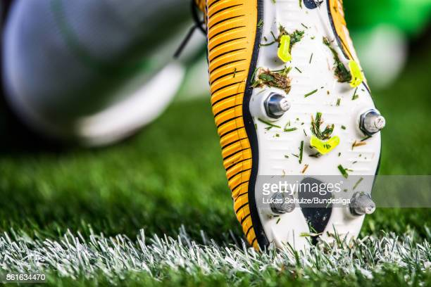 Shoes of a player are seen prior to the Bundesliga match between Bayer 04 Leverkusen and VfL Wolfsburg at BayArena on October 15 2017 in Leverkusen...