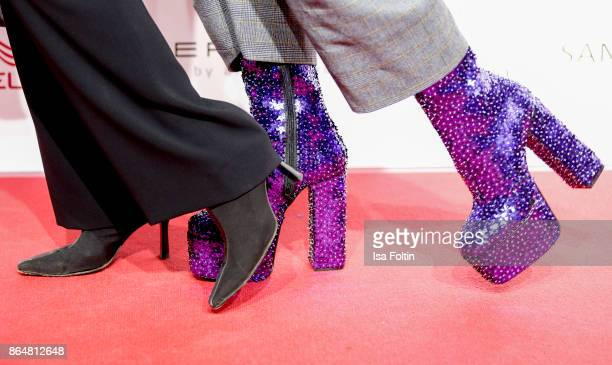 Shoes of Daniela Ziegler and Jorge Gonzalez as a detail during the 'Goldene Bild der Frau' award at Hamburg Cruise Center on October 21 2017 in...