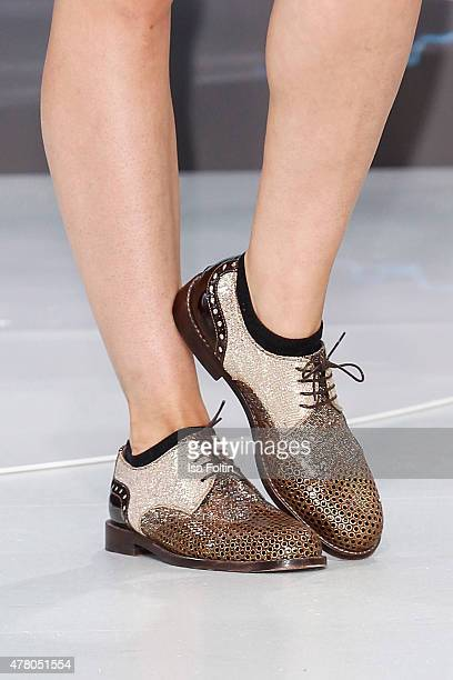 Shoes of Eva Hassmann at the European Premiere of 'Terminator Genisys' at the CineStar Sony Center on June 21 2015 in Berlin Germany