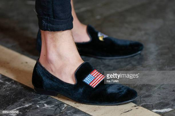 Shoes of Influencer Riccardo Simonetti as a detail during the 'Axolotl Overkill' Berlin Premiere at Volksbuehne RosaLuxemburgPlatz on June 21 2017 in...