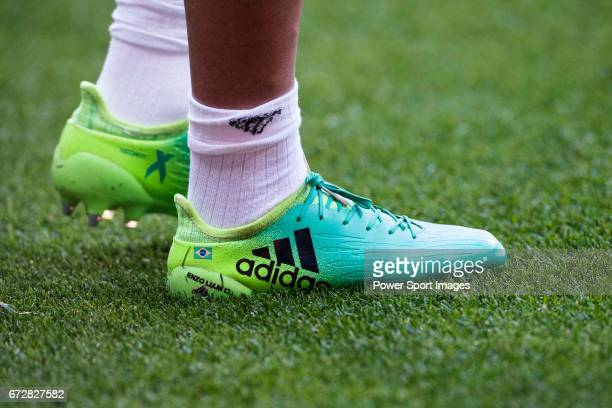 Shoes of Marcelo Vieira Da Silva of Real Madrid are seen prior to the La Liga match between Real Madrid and Atletico de Madrid at the Santiago...