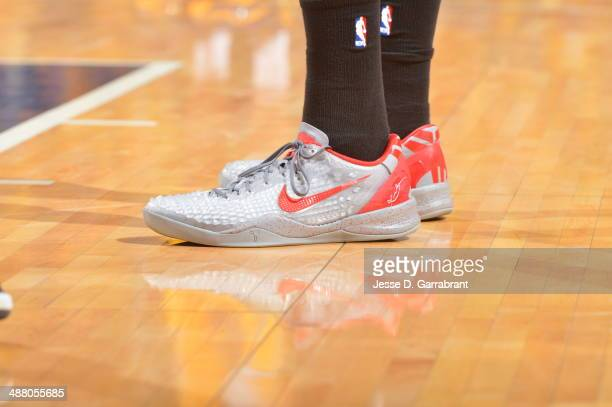 Shoes of Shelvin Mack of the Atlanta Hawks during game Seven of the Eastern Conference Playoffs against the Indiana Pacers at the Bankers Life...