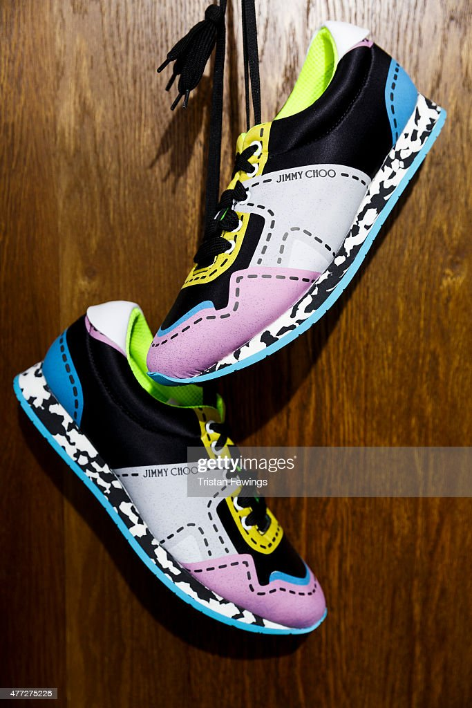 Shoes on display at the Jimmy Choo presentation during The London Collections Men SS16 at Seymour Leisure Centre on June 15 2015 in London England