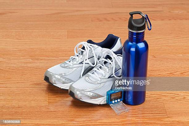 Shoes Water Bottle and Pedometer
