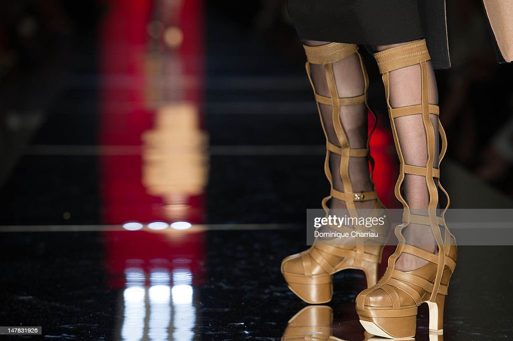 Shoes worn by a model as she walks the runway during the Jean-Paul Gaultier Haute-Couture Show as part of Paris Fashion Week Fall / Winter 2013 on July 4, 2012 in Paris, France.