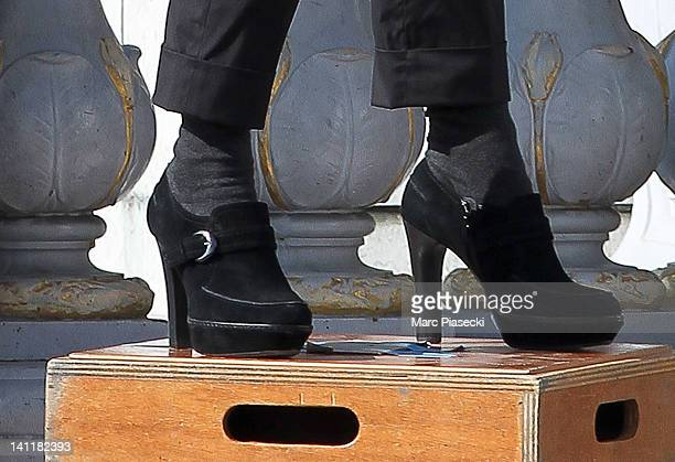 Shoes worn by actress and model Kiko Mizuhara sighted during a photo shoot on Pont Alexandre III on March 12 2012 in Paris France