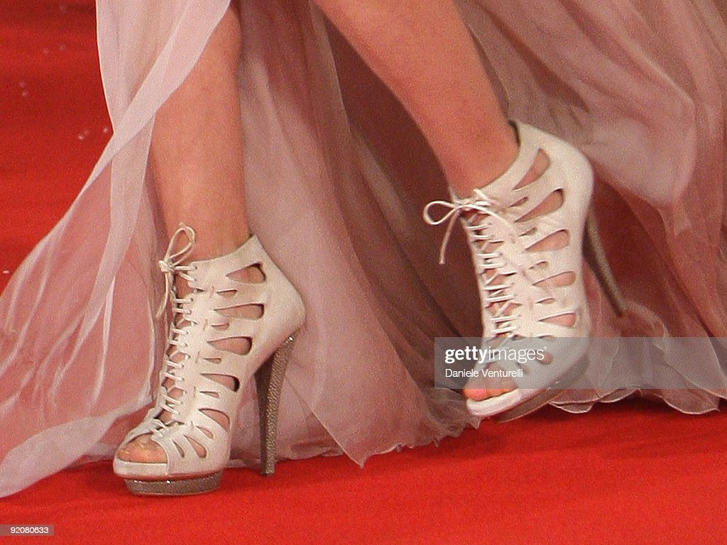 Shoes worn by actress Carolina Crescentini as she attends the 'Oggi Sposi' Premiere during day 6 of the 4th Rome International Film Festival held at...