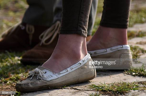 Shoes worn by Britain's Catherine Duchess of Cambridge are seen as she and Prince William Duke of Cambridge take part in a safari through Kaziranga...