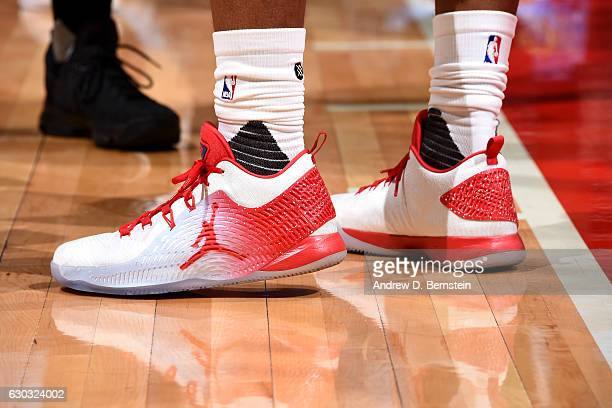 Shoes worn by Chris Paul of the Los Angeles Clippers during the game against the Denver Nuggets on December 20 2016 at STAPLES Center in Los Angeles...