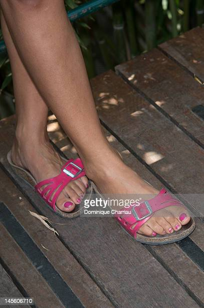 Shoes worn by Hafsia Herzi as she poses during The French Open at Roland Garros on June 2 2012 in Paris France