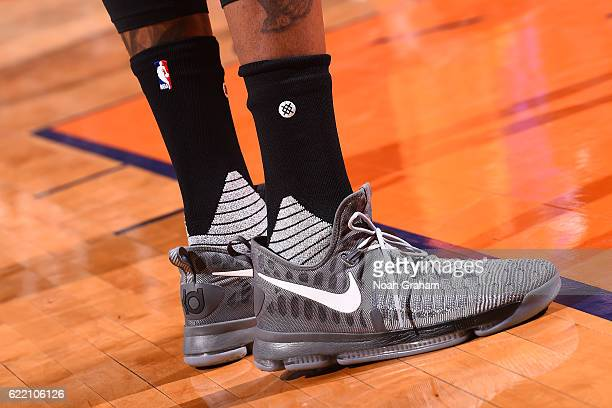 Shoes worn by Kevin Durant of the Golden State Warriors during the game against the Phoenix Suns on October 30 2016 at Talking Stick Resort Arena in...