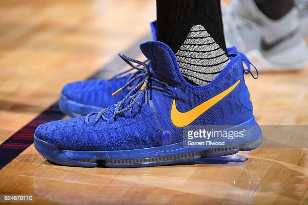 Shoes worn by Kevin Durant of the Golden State Warriors during the game against the Denver Nuggets on November 10 2016 at the Pepsi Center in Denver...