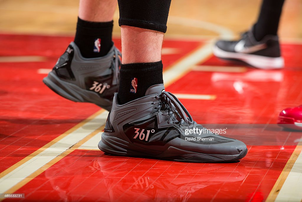 Shoes worn by Kevin Love #42 of the Minnesota Timberwolves during the game against the Chicago Bulls on January 27, 2014 at the United Center in Chicago, Illinois.