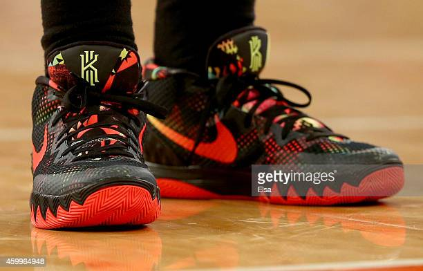 Shoes worn by Kyrie Irving of the Cleveland Cavaliers are seen during the game against the New York Knicks at Madison Square Garden on December 4...