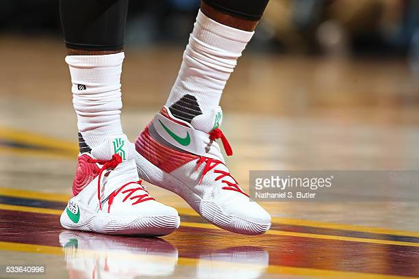 Shoes worn by Kyrie Irving of the Cleveland Cavaliers during the game against the Toronto Raptors during Game Two of the Eastern Conference Finals...