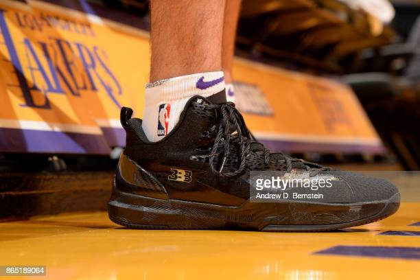 shoes worn by Lonzo Ball of the Los Angeles Lakers are seen prior to the game against the New Orleans Pelicans on October 22 2017 at STAPLES Center...