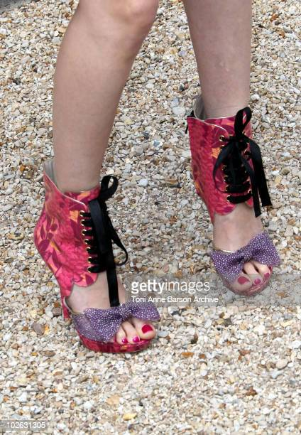 Shoes worn by Roxanne Mesquida attending the Dior show as part of Paris Fashion Week Fall/Winter 2011 at Musee Rodin on July 5 2010 in Paris France