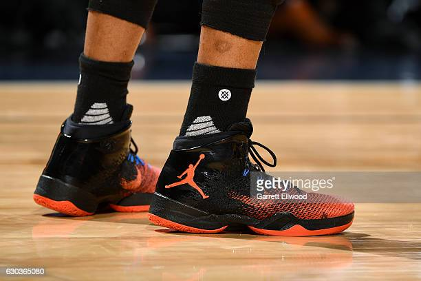 Shoes worn by Russell Westbrook of the Oklahoma City Thunder during the game against the Denver Nuggets on November 25 2016 at the Pepsi Center in...