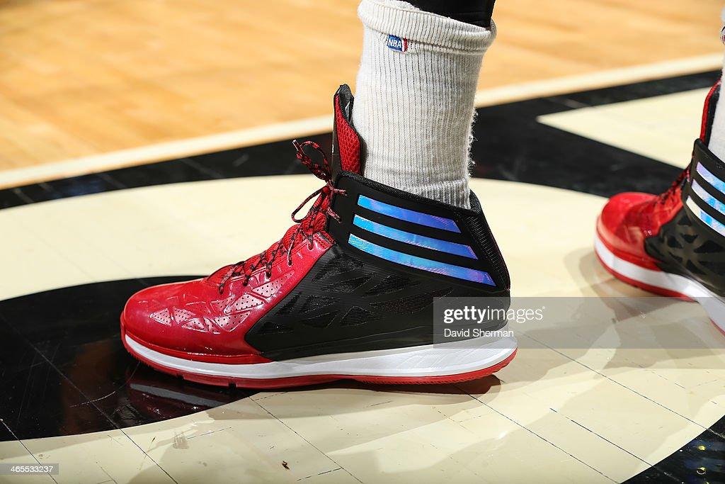 Shoes worn by Taj Gibson #22 of the Chicago Bulls during the game against the Minnesota Timberwolves on January 27, 2014 at the United Center in Chicago, Illinois.