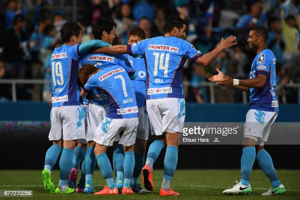 Shogo Nishikawa of Yokohama FC celebrates scoring the opening goal with his team mates during the JLeague J2 match between Yokohama FC and Ehime FC...