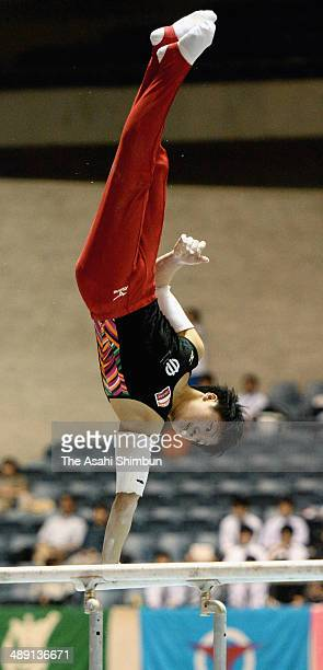 Shogo Nonomura competes in the parallel bars during day one of the All Japan Artistic Gymnastics Individual All Around Championships at Yoyogi...