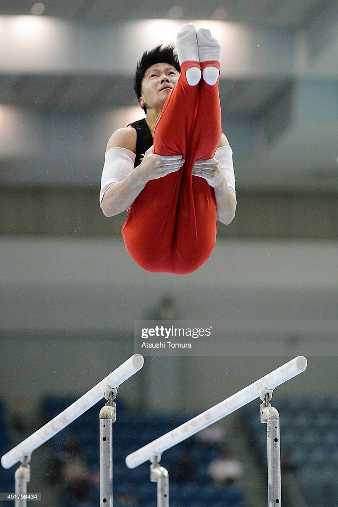 Shogo Nonomura of Japan competes on the Parallel Bars during the 68th All Japan Gymnastics Apparatus Championships on July 6, 2014 in Chiba, Japan.