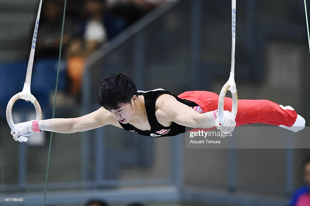 Shogo Nonomura of Japan competes on the Rings during the 68th All Japan Gymnastics Apparatus Championships on July 6, 2014 in Chiba, Japan.