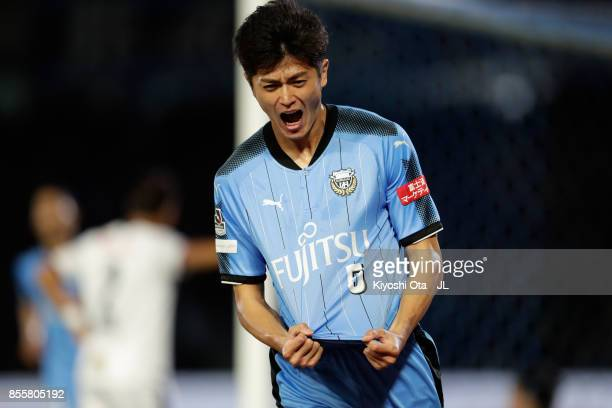 Shogo Taniguchi of Kawasaki Frontale celebrates scoring the opening goal during the JLeague J1 match between Kawasaki Frontale and Cerezo Osaka at...