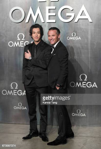 Shohei Miura and Raynald Aeschilmann attend the Lost In Space event to celebrate the 60th anniversary of the OMEGA Speedmaster at the Tate Modern on...