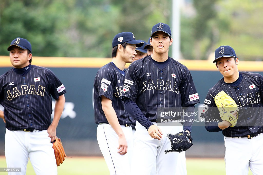 Shohei Ohtani of Japan in action during a training session on November 10 2015 in Taipei Taiwan