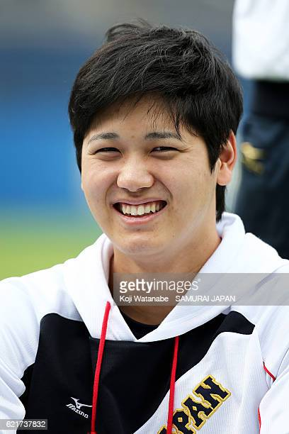 Shohei Ohtani of SAMURAI JAPAN during the Japan national baseball team practice session at the QVC on November 8 2016 in Tokyo Japan