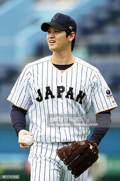 Shohei Ohtani of SAMURAI JAPAN in action during the Japan national baseball team practice session at the QVC on November 8 2016 in Tokyo Japan