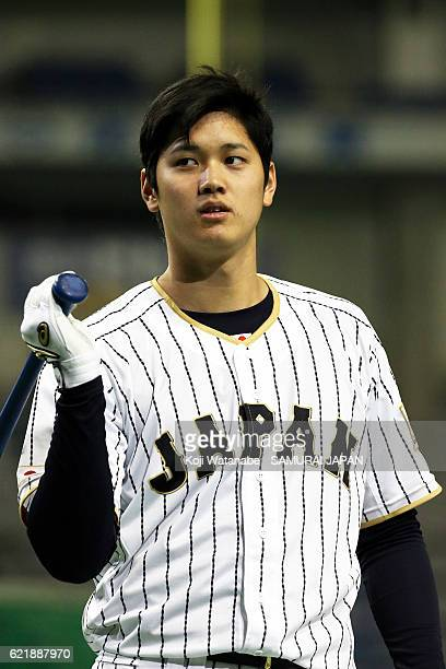 Shohei Ohtani of Samurai Japan in action during the Japan national baseball team practice session at the Tokyo Dome on November 9 2016 in Tokyo Japan