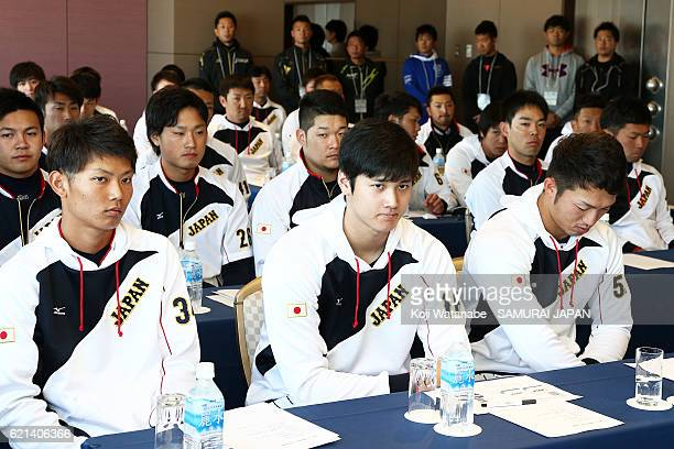 Shohei Ohtani of Samurai Japan players during a training meeting session at the QVC on November 6 2016 in Tokyo Japan