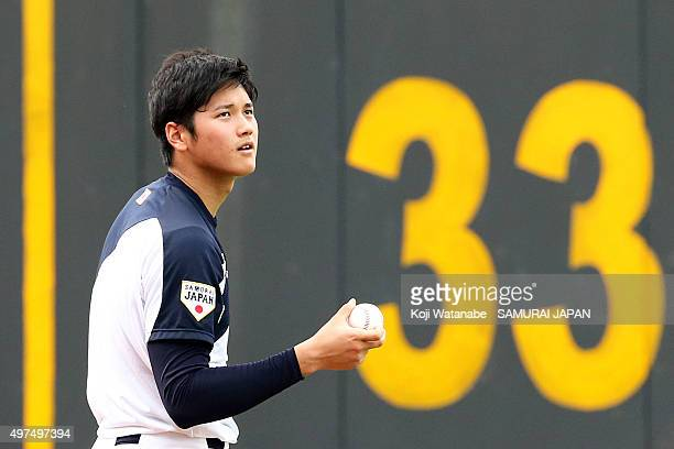 Shohei Ohtani of Japan in action during on a training session ahead of the WBSC Premier 12 semi final match against South Korea at the Taoyuan...