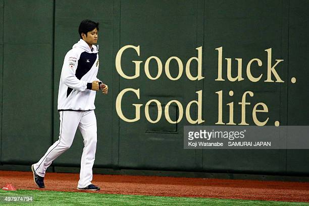 Shohei Ohtani of Japan looks on a training session at the Tokyo Dome on November 20 2015 in Tokyo Japan
