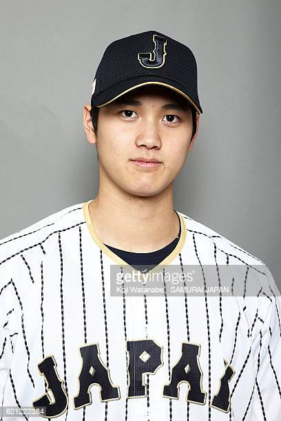 Shohei Ohtani of Japan poses for photographs during the Japan national baseball team portrait session on November 5 2016 in Tokyo Japan