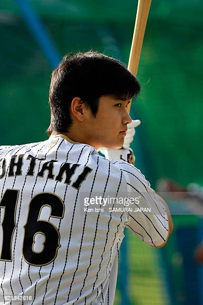 Shohei Ohtani of Japan takes batting practice during the Japan national baseball team practice session at the QVC on November 6 2016 in Tokyo Japan