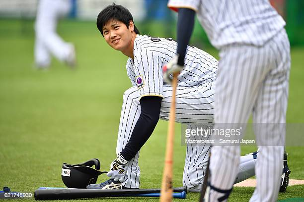 Shohei Ohtani of SAMURAI JAPAN smiles during the Japan national baseball team practice session at the QVC on November 8 2016 in Tokyo Japan