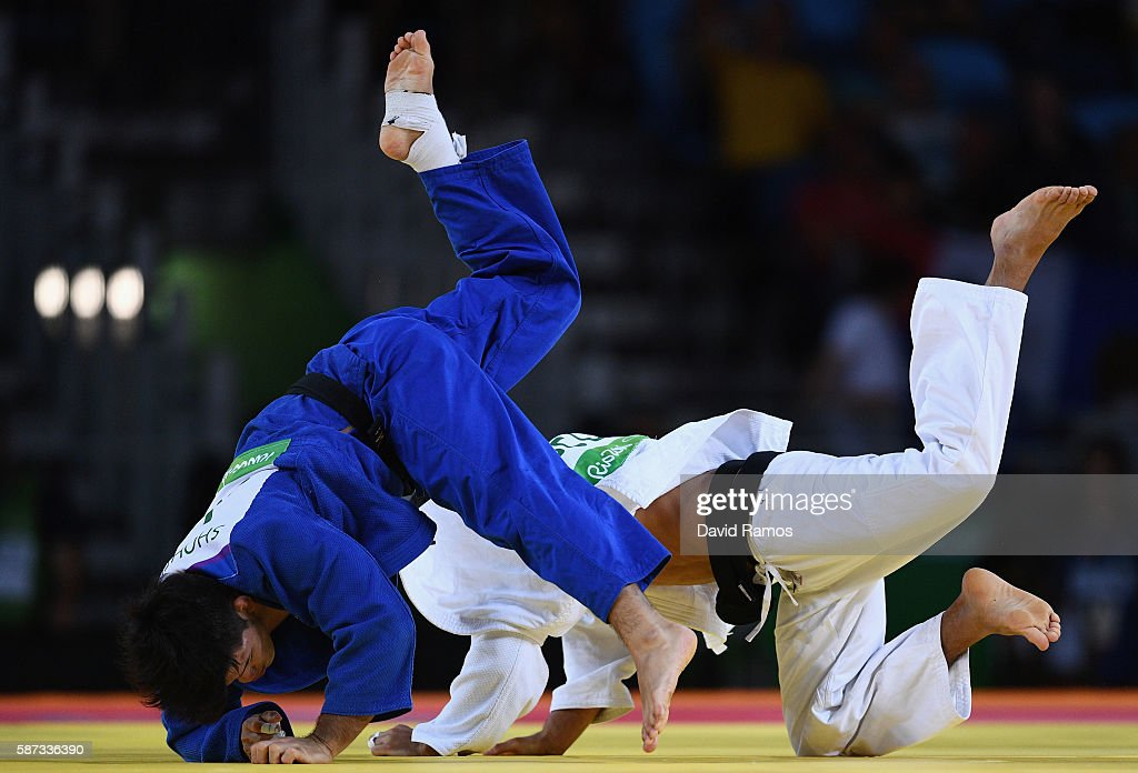 Shohei Ono of Japan competes against Lasha Shavdatuashvili of Georgia in the Men's 73 kg Judo quarterfinal on Day 3 of the Rio 2016 Olympic Games at...
