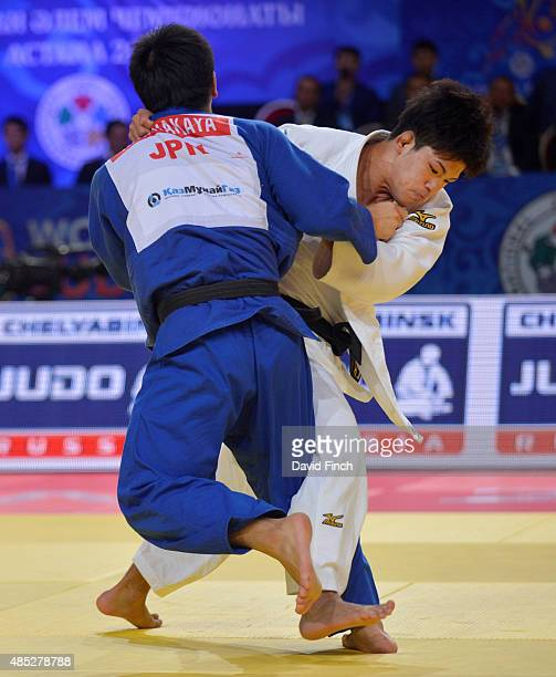 Shohei Ono of Japan here attacking defeated his team mate Riki Nakaya by a wazari to win his second World u73kg gold medal during the 2015 Astana...