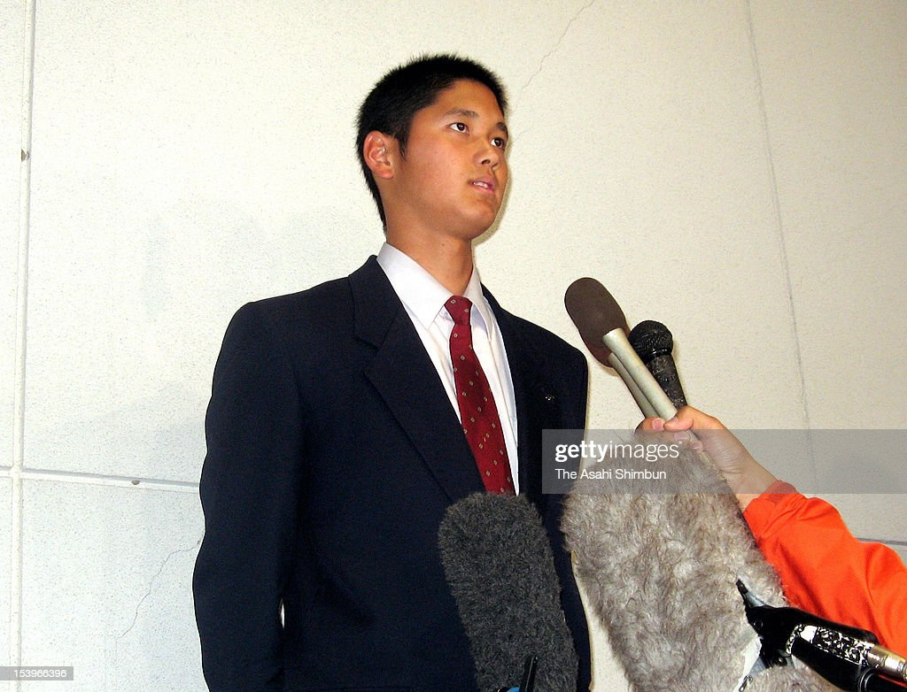 Shohei Otani, Hanamaki Higashi High School pitcher who has a fastball of 100 miles per hour, speaks to media reporters after an meeting with scouts of Boston Red Sox at Hanamaki Higashi High School on October 11, 2012 in Hanamaki, Iwate, Japan. All 12 Japanese professional baseball teams and Los Angeles Dodgers, texas Rangers and Boston Red Sox have had meetings with him.