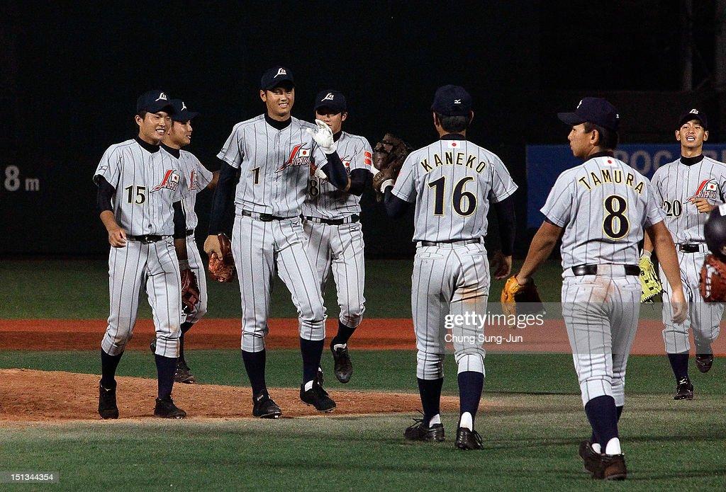Shohei Otani of Japan celebrates with his team mates after the 18U Baseball World Championship match between Japan and South Korea at Mokdong Stadium on September 6, 2012 in Seoul, South Korea.