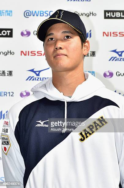 Shohei Otani of Japan is interviewed after his team's 50 win in the WBSC Premier 12 match between Japan and South Korea at the Sapporo Dome on...